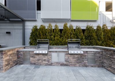 Outdoor grilling stations at the Residences at Bentwood