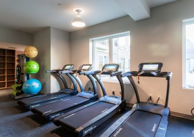 4 treadmills in the gym at the Residences at Bentwood in Plymouth Meeting