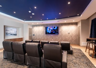 Media room with large screen viewing area and streaming capability at the Residences at Bentwood in Plymouth Meeting