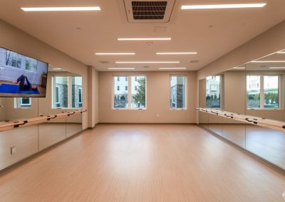 Fitness center and yoga/barre room at the Residences at Bentwood